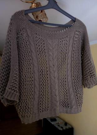 Летняя  весенняя кофта пончо вязаный свитер топ сеточка в дырочку  оверсайз oversize