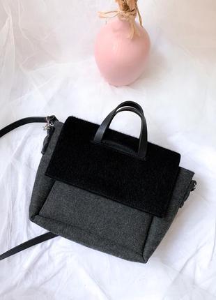 Сумка из войлока, сумка с кожаными ручками, сумка через плечо