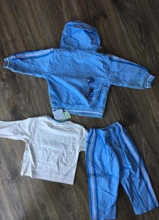 Новый повседневный спортивный костюм-тройка shi tailu baby / пуловер, ветровка, брюки