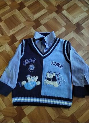 Детский свитер- рубашка