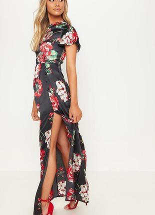 Prettylittlething атласна максі-сукня принт квіти