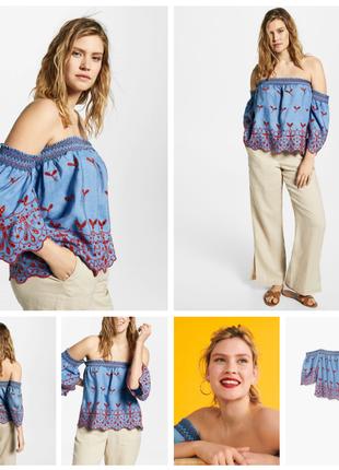 Блузка из денима с открытыми плечами violeta by mangо лиоцель (эвкалиптовое волокно)