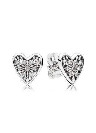 Серьги зимнее сердце pаndora с камнями серебро 925, сережки, гвоздики