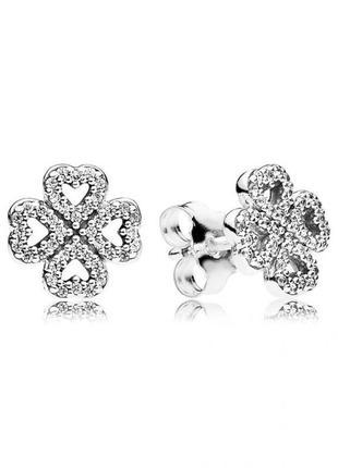 Серьги влюбленные сердца pаndora с камнями серебро 925, сережки, гвоздики