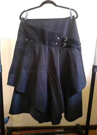 Черная юбка миди многослойная