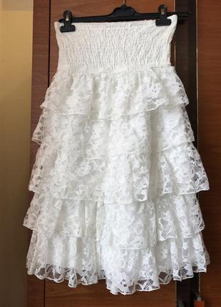 Белое летнее платье stradivarius