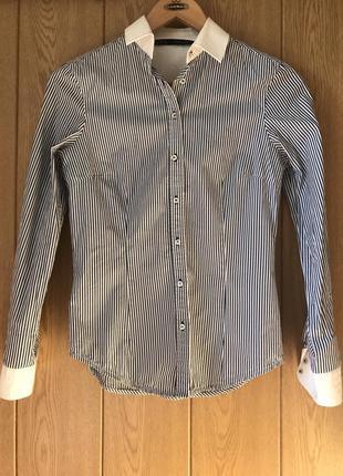 Zara классическая приталенная рубашка в полоску