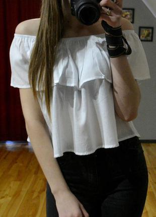 Ніжна блуза з відкритими плечима, топ, кроп-топ, 100% хлопок, розміри xs,s,m,l