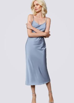 Платье комбинация миди шелковое, голубое