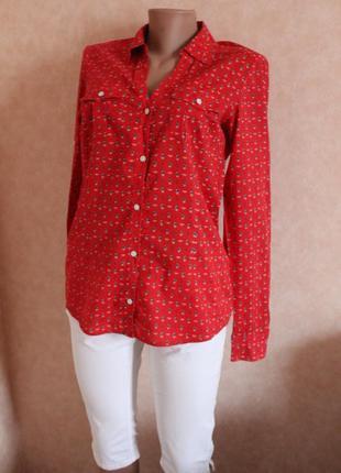 Рубашка,красная, ультрастильная вещь!! в принт корабликов,  размер м-л