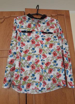 Блузка шифонова з квітковим принтом