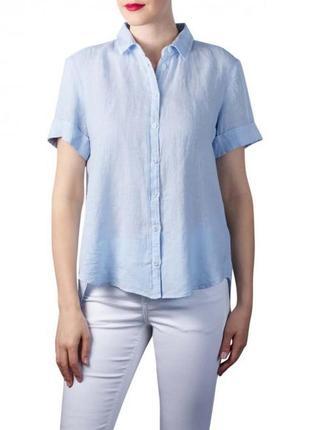 Базовая брендовая льняная рубашка с коротким рукавом marc o'polo 100% лен