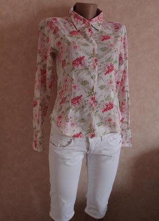 Рубашка,блуза, высокого качества, хлопок,в цветочный принт