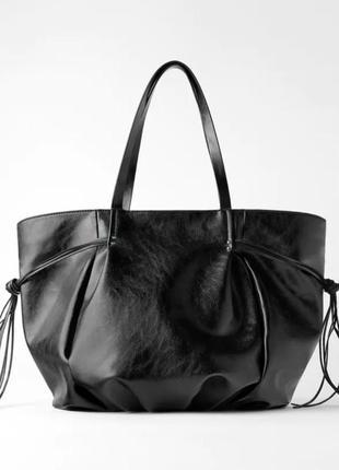 Стильная чёрная сумка шопер от zara