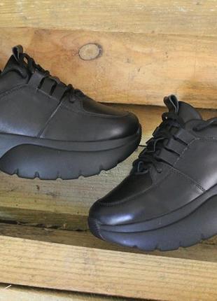 Топ качество, кроссовки черные, кожа натуральная, с 36-41р