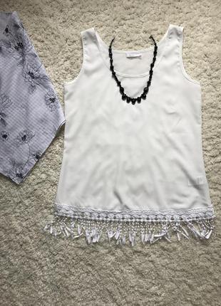 Молочна шифонова майка/ блузка в стилі бохо))