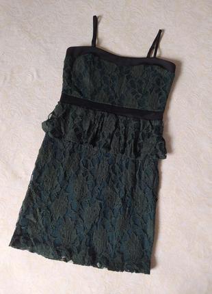 Мереживне плаття міді на брительках, темно-зелене, кружево, зелений