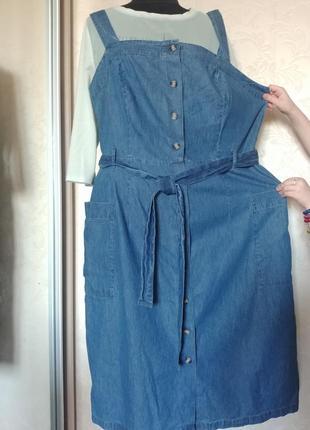 Батал макси джинсовый сарафан на пуговицах карманы накладные
