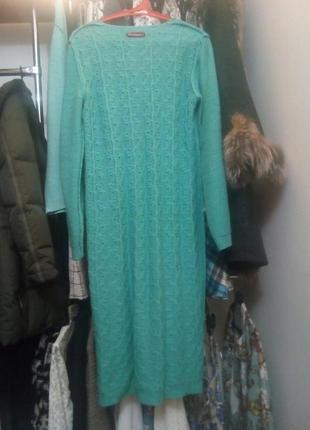 Платье яркого цвета миди на осень/зиму