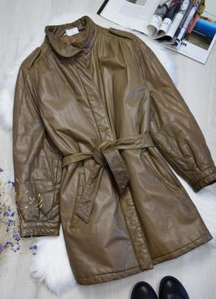 Куртка тренч плащ кожаный под пояс винтажный евро зима