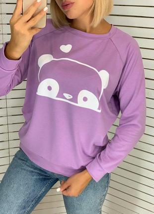 Свитшот женский двухнить панда фиолетовый