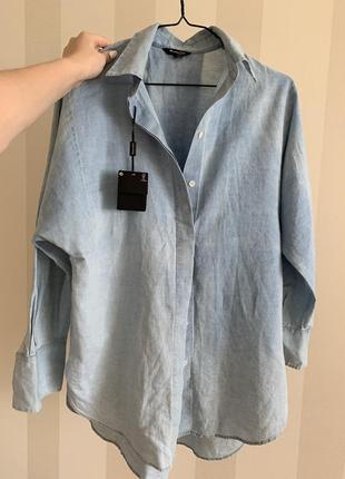 Рубашка блуза голубая белая морская кофта massimo duti массимо дути дюти oversize оверсайз