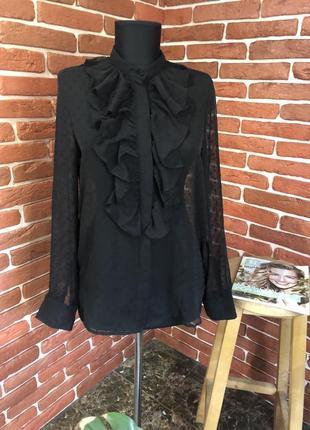 Чёрная шифоновая блуза жабо h&m
