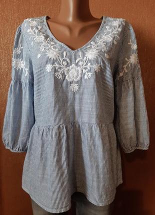 Блуза хлопок в полоску с вышивкой красивый объёмный средний рукав размер 12-14 tu