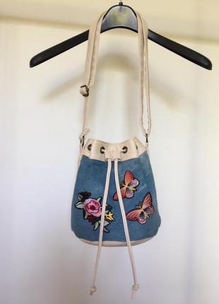 Стильная джинсовая сумка, сумка мешок с длинными ручками, сумка-мешок