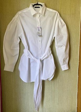 Белая рубашка оверсайз, хлопковая белая рубашка reserved