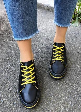 💎яркие кросовки натуральная кожа. желто чёрные кроссовки💎