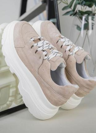 💎бежевые кросовки на толстой подошве натуральная кожа. кросовки натуральная кожа💎