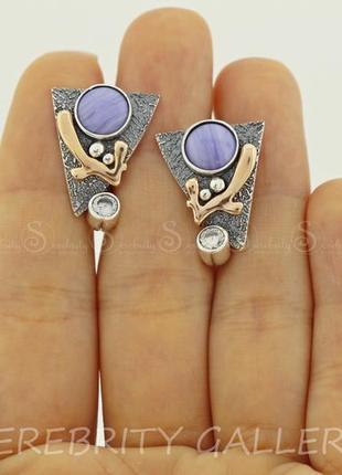 Серьги серебряные с агатом i 200675 bk l.w.gd серебро 925