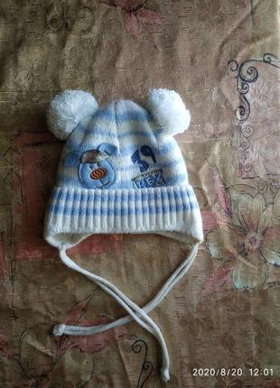 Шапка зимняя для мальчика на завязках с двумя помпонами