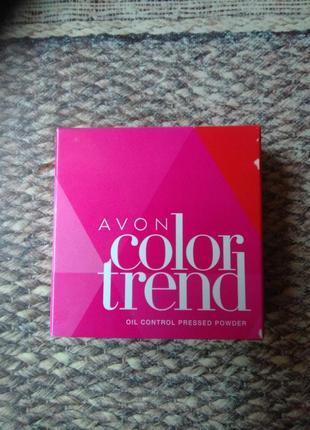 """Компактная пудра light medium """"контроль блеска"""" color trend avon"""