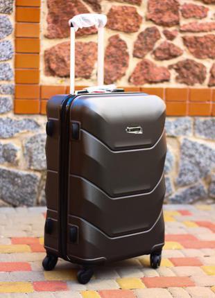 Чемодан графитовый черный качественный пластиковый чемодан валіза пластикова