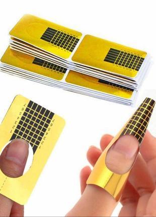 Типсы формы ногти наращиван гель лак типс форм наклейк маник золот акрил форм