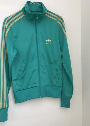 Adidas женская спортивная куртка олимпийка бирюзовая