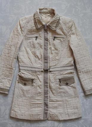 Длинная куртка демисезонная парка c кожаными элементами, женская куртка