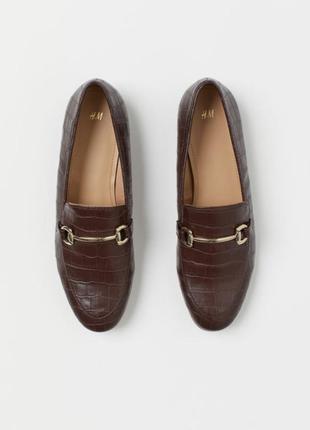 Стильные туфли лоферы балетки под кожу рептилии h&m 36