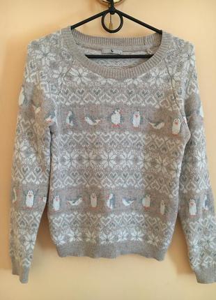 Классный стильный тёплый свитер свитерок зима пингвины