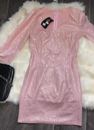 Платье розовое мини
