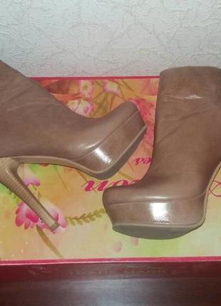 Шикарные кожаные ботильоны, ботинки на высоком каблуке