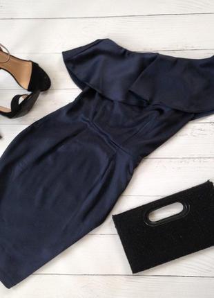Коктейльное элегантное вечернее платье футляр миди воланы атлас шёлк батал plus size