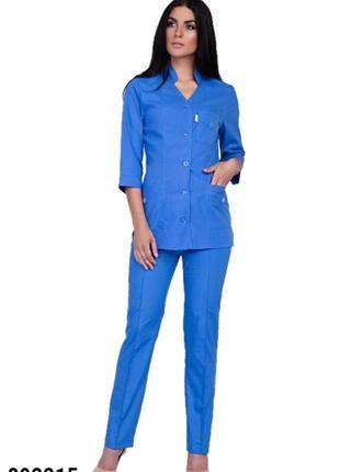 Костюм медицинский, синий, батист, р. 42-66; женская медицинская одежда, 892215