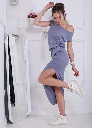 Оригинальное повседневное базовое спортивное миди платье футболка до колен разрез casual