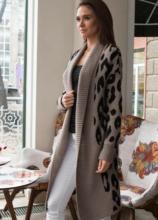 Вязаный кардиган-пальто с леопардовым принтом 5 цветов