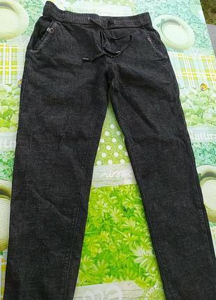 Черные джинсы на резинке и пояс и низ
