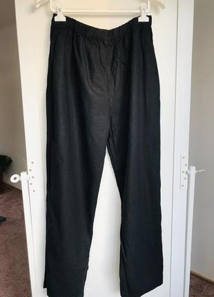 Чорні лляні штани, батал1 фото