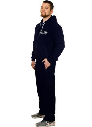 Мужской удлиненный демисезонный трикотажный спортивный костюм удлинённый (2098)